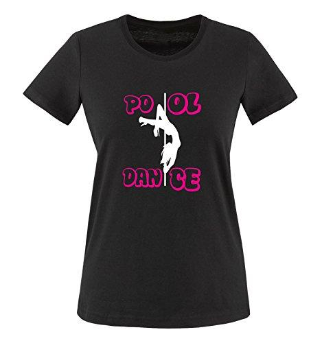 Comedy Shirts - Pool Dance - Damen T-Shirt - Schwarz/Weiss-Pink Gr. S
