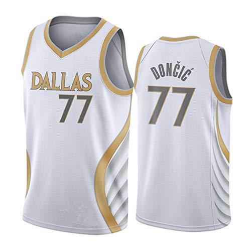 FGRGH Doncic #77 Jersey Mavericks 2021 - Camiseta de baloncesto para hombre, diseño retroentrenamiento, edición ciudad, S ~ XXL M