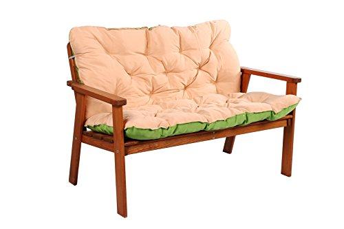 Meerweh Auflage mit Rückenteil für Bank, Wendekissen Polsterauflage Bankauflage, grün, 100 x 98 x 12 cm, 74082 - 9