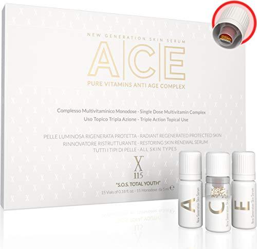 SERUM FACIAL | X115® ACE | Vitaminas Puras | Serum VITAMINA C + Serum RETINOL - Vitamina A + Serum VITAMINA E | Antiarrugas, Antimanchas, Illuminante | 5+5+5 Viales