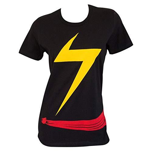 Ms. Marvel Camiseta padrão de fantasia feminina, Preto, XS