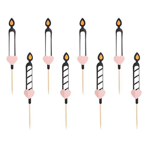 jojofuny 8 Piezas de Adornos para Tartas del Día de San Valentín Patrón de Llama de Vela de Papel Inserto de Dinero para Bricolaje Selecciones de Adornos para Cupcakes para Bodas Favores