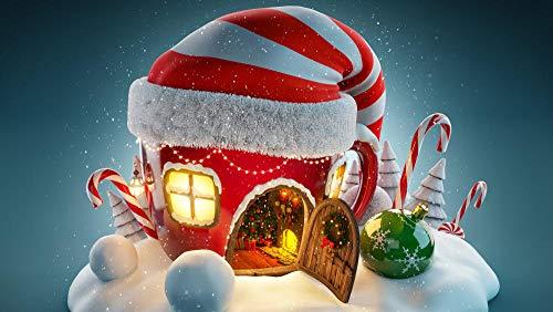 XQFZXQ 3D Wandbild Tapete Selbstklebend Kreatives Weihnachtsmütze-Häuschen Weihnachten Wandbild Moderne Wohnzimmer Und Tv Hintergrund Wand 3D Foto PVC Tapete Schlafzimmer Büro Flur (B)250x(H)175cm
