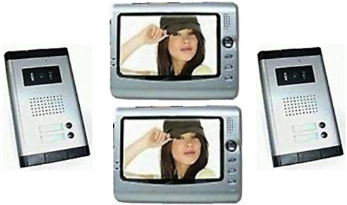 Frenkbox Kit videocitofono bifamiliare con Doppio Ingresso Doppia citofoniera per 2 Serrature elettroniche
