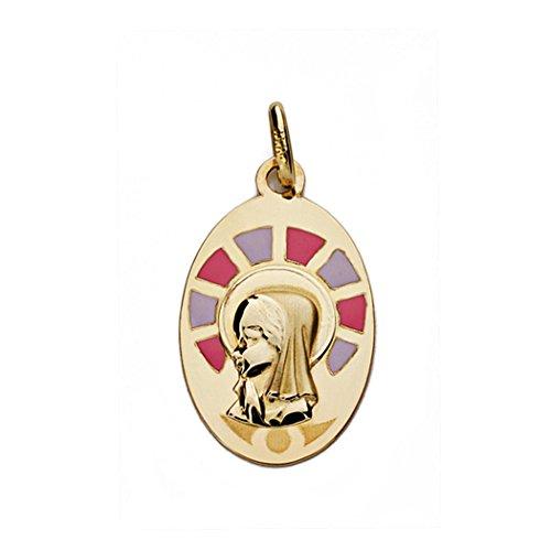 Medalla Oro 9K Virgen Niña 21mm. Oval Lisa Formas Esmaltadas Rosa Lila