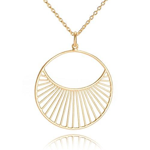 Pernille Corydon Damen Halskette Daylight - Lange Kette 80 cm runder Anhänger Silber vergoldet - N571g