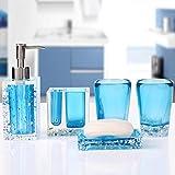 CZOOR 5pcs Accesorios de baño Set Crystal Ice Flower dispensador de Plato de jabón de acrílico Transparente Soporte de Cepillo de Dientes Kit de Lavado de Vaso @ Azul