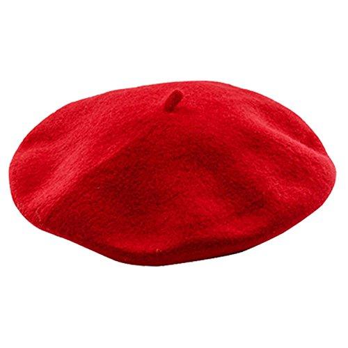 ZhongYeYuanDianZiKeJi Boina de Lana Francesa para Mujer Niña, Fieltro, Gorro de Punto Clásico para Invierno (Rojo)