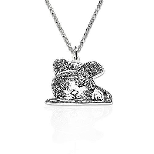 Fira Woo Collar Personalizado de Fotos de Mascotas/Perros/Gatos Cadena de Plata de Ley 925 Collares de Imagen Personalizados Regalo Hecho a Mano Amantes de Mascotas