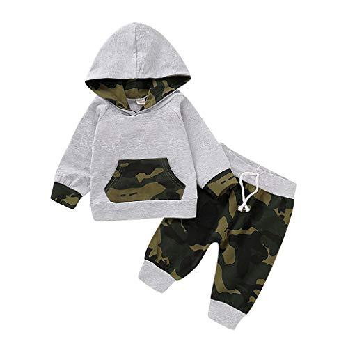 Hui.Hui Sweat à Capuche Enfants Bébé Camouflage Sweat-Shirt Tops Garçon Fille Nouveau-né avec Sweatshirt Tenue de Pantalon Chaud Vêtements Ensemble à 0-2 Ans