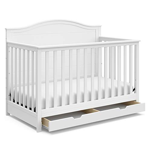 StorkCraft Moss Convertible Crib with Drawer - Full-Size Storage Drawer, Crib Easily Converts to Daybed, Toddler Bed, Full-Size Bed with Headboard & Footboard