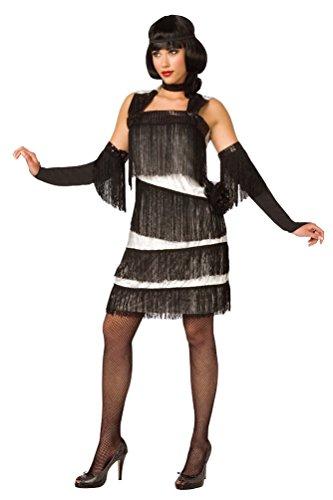 Karneval-Klamotten 20er 30er Jahre Kostüm Damen Charleston Kleid Charleston weiß schwarz Damenkostüm