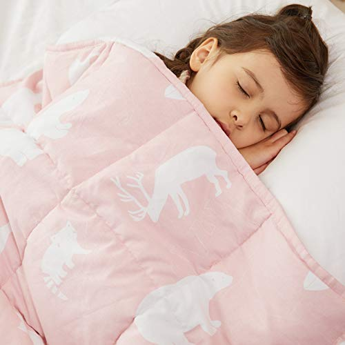 Weighted Idea Kids Weighted Blanket 7 lbs 41' x 60' for Kids and Teens (Crease-Resistant Fabric, Pink Animal)