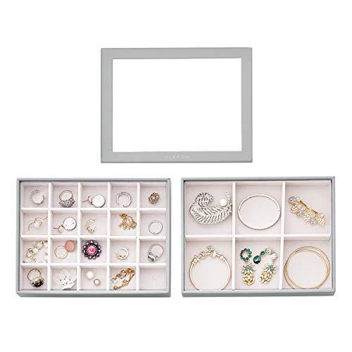 Vlando 20 y 6 rejillas organizador de joyas para cajones y joyas, organizador de joyas, organizador de joyas, apilable, organizador de joyas, cajones y organizador, color gris