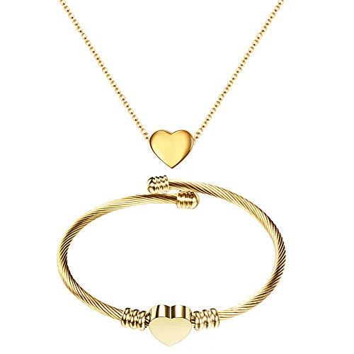 Juego de 2 piezas de joyería, pulsera para mujer con collar, juego de llaves de eje de acero inoxidable con grabado personalizado para mujer (dorado)