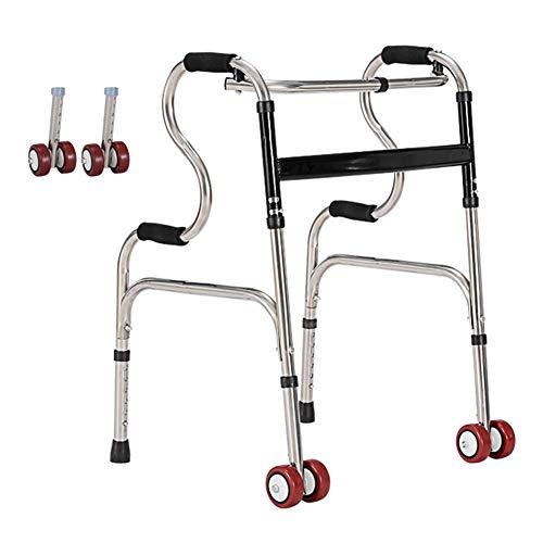 YXX-Andador Andadores para Ancianos Adultos Andadores Con Ruedas De Acero Inoxidable Con 2 Ruedas, Andador Con Ruedas Médico Para Adultos, Personas Mayores, Mujeres Y Hombres, Uso En Interiores Y Exte