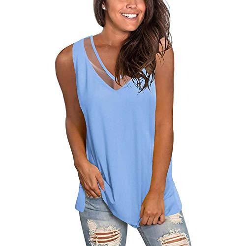 Blusa sin mangas para mujer, camiseta de verano con corte en V, camiseta de tirantes, túnica, tops para adolescentes, chicas, elegante encaje de patchwork, blusas y blusas azul XL