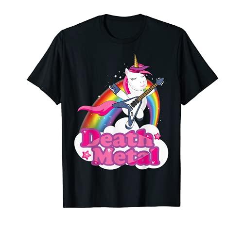 Divertida camiseta de unicornio de metal de la muerte para hombres, mujeres, niños Camiseta
