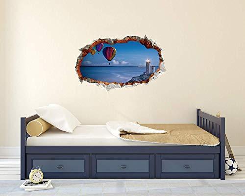 Aerostatische Luftballons Meer und Leuchtturm – 3D-Effekt – Brems-Wand-Effekt 3D – Wandaufkleber für Zimmer und Wohnzimmer (Breite 55,9 x 35,6 cm Höhe)