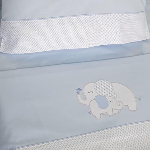10XDIEZ Juego de sábanas cuna elefante azul - (Minicuna - 50x80 cm - Azul)