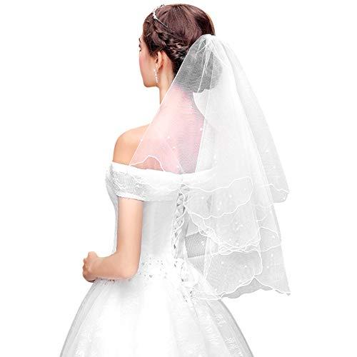 Brautschleier Hochzeit Schleier Weicher Tüll Brautkleidzubehör Handgefertigte Perlen Festlicher Schleier Damen Weiß Ellenbogen Länge Schleier Brautkleid Kopfschmuck Hochzeitszubehör Haarschmuck
