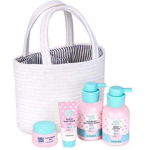 Baby Gift Sets, HAPPY BUM Baby Gift Baskets, Baby Bath Set Includes Body Lotion, Face Cream, Body Wash and Shampoo, Diaper Cream, Cotton Storage Basket, Baby Gifts for Newborn or Mom.