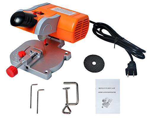 Mini Cut-off Miter Saw for Cutting Metal Wood Plastic Arts & Crafts, 110V Power Benchtop Cut Off Miter Saw with 2