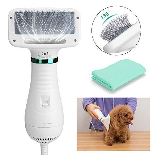 Ownpets - Secador de Pelo con Cepillo para Mascotas 2 en 1, Cepillo de Peine para Mascotas portátil y silencioso, Temperatura de 2 Engranajes con Mango ergonómico, Toalla de Secado rápido