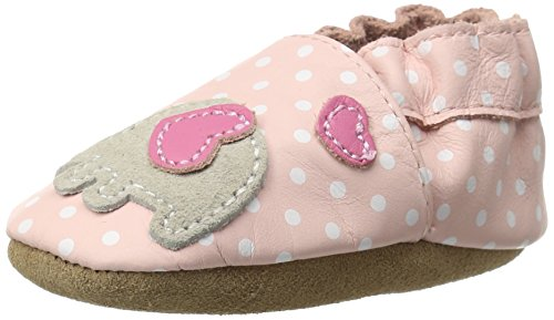 Robeez Baby Girls Little Peanut Shoes Soft Soles Traditional Silhouette Pink and White Poka Dots with Elephant 6-12 Months Infant