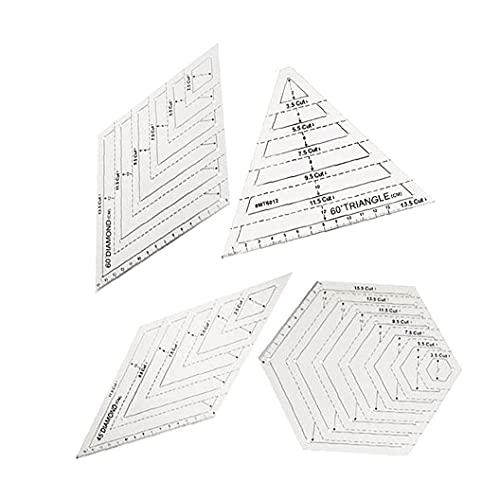DierCosy Tools, reglas para acolchar, plantillas de patchwork, triángulo transparente, hexágono, 60 45 grados para coser, zócalos, manualidades, 4 piezas, hogar y jardín