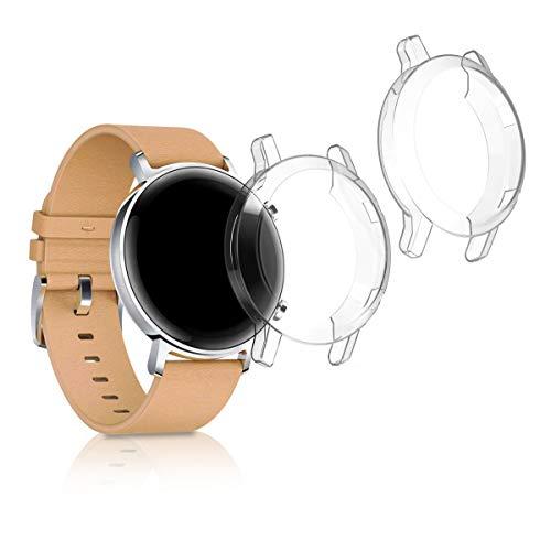 kwmobile Set 2X Compatibile con Huawei Watch GT2 (42mm) Cover Protettiva - Custodia Full Body Smartwatch - in Silicone - Trasparente