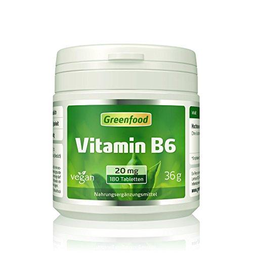 Vitamin B6, 20 mg, hochdosiert, 180 Tabletten – für mehr Energie. Wichtig für Blutbildung und Immunsystem. OHNE künstliche Zusätze. Ohne Gentechnik. Vegan.