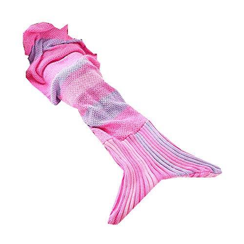 FORYOURS Meerjungfrau Decke Kuscheldecke Wolldecke Tagesdecke Strickdecke, Handgemachte Häkeln Sofa Weiche Decke, Nickerchen Teppich Meerjungfrau Schwänze Schlafsack Für Erwachsene Und Kinder