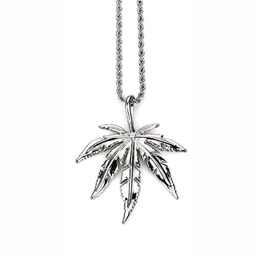 ZHUOTOP Halskette mit Anhänger aus Hanfblatt für Damen und Herren, Hip-Hop, Schmuck, Geschenke, Silber
