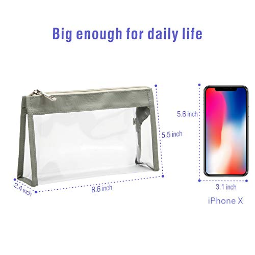 Clear Makeup Bag, F-color Waterproof Clear Cosmetic Bag Organizer, Multifunction Transparent Travel Toiletry Bag Large Zipper Opening Fits Travel Bathroom, 4 Pack, Gray 7