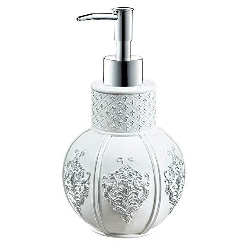 "Creative Scents Vintage White Hand Soap Dispenser (4.25"" x 4.25"" x 7.75"") Countertop Decorative Lotion Pump, Resin Shower Dispensers, for Elegant Bathroom Decor White/Silver"