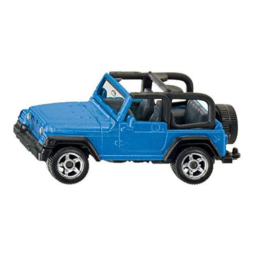 SIKU 1342, Jeep Wrangler, Metall/Kunststoff, Blau, Spielzeugauto für Kinder, Anhängerkupplung