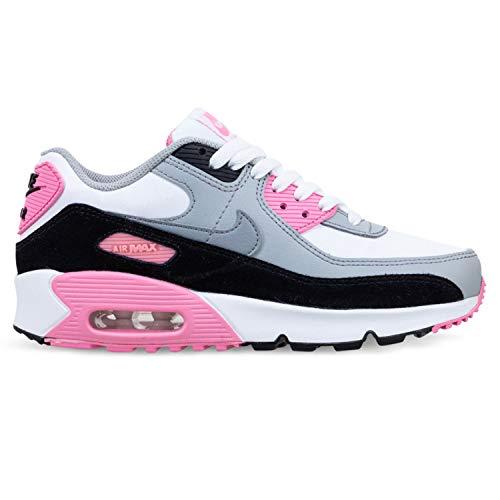 Nike Air Max 90 LTR (GS) Big Kids Casual Laufschuhe Cd6864-104, (grau / pink), 22 EU