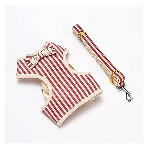 Cmdzsw - Juego de arnés de perro sin tensión para cachorros de lazo, chaleco de entrenamiento para perros pequeños, suministros para mascotas (color: rayas rojas, tamaño: S)