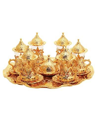 Trmade Traditionelles dekoriertes altes osmanisches türkisches griechisches arabisches Teeservice mit Untertasse, 6 Stück gold