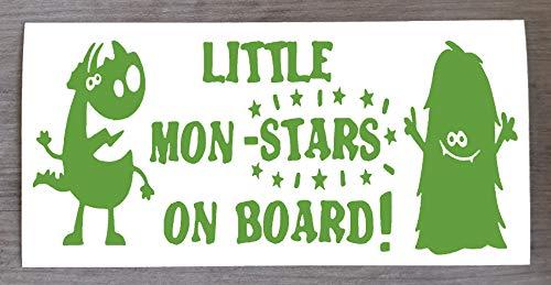 Sticker Monster on Board Little Mon - Star on Board - Sticker amusant Baby on Board - 9 cm x 20 cm - HSS012, Vinyle, vert citron, Two Mon-Stars