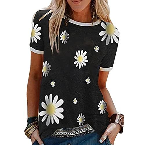 Blusa Mujer Básica Cuello Redondo Pequeño Patrón De Margaritas Imprimir Empalme Mujer Camisa Casual Clásico Moda Retro Personalidad Elasticidad Simplicidad Mujer Tops D-Black XL