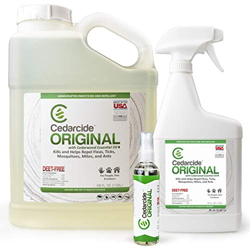 Cedarcide Original Kit (Large) - Kills and Repels Mosquitoes Ticks Fleas Mites Ants and Chiggers - Natural Cedar Oil Bug Spray for Use on People Pets and Indoor Spaces