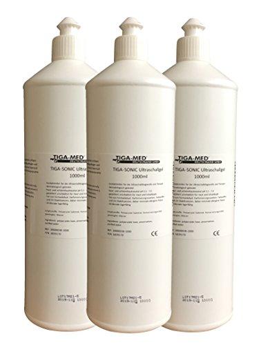 Ultraschallgel 1 Ltr. 3er Set (= 3 Flaschen) Kontaktgel Sono- Ultraschall- Gel 1000ml Leitgel Tens AB Gym Gleitgel Marke: Tiga-Med