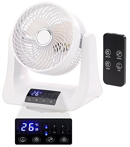 Sichler Haushaltsgeräte Ventilator 3D: Digitaler 3D-Robo-Raumventilator & Luftzirkulator, 45 Watt, Ø 21 cm (Raumlüfter)