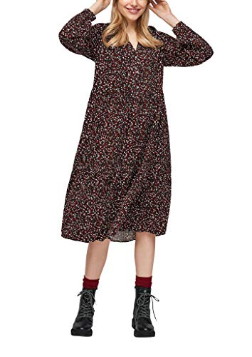 s.Oliver Damen Stufenkleid mit Tunika-Ausschnitt Black AOP 38