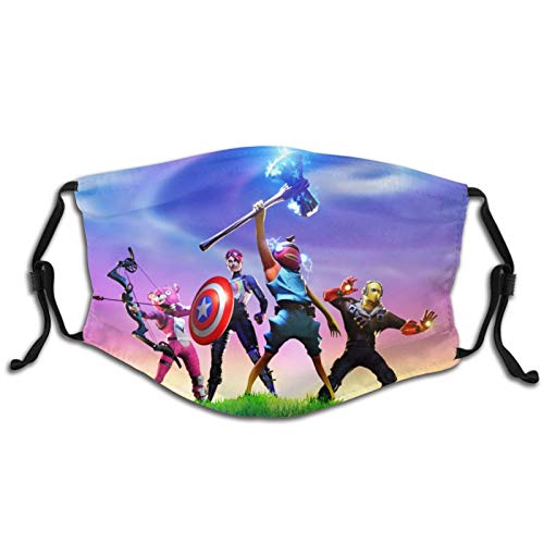 Uenujyhj Fort_nite Boys & Girls Kids Face Mask Cover, Reusable Breathable Mouth Bandanas for Sports with Filters, Dustproof & Windproof Big Kid Mouth Cover