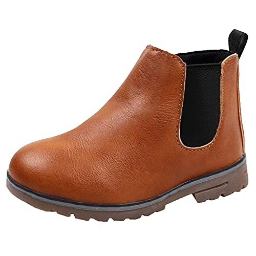 DADAWEN Boy's Girl's Waterproof Side Zipper Short Ankle Winter Snow Boots Brown US Size 10 M Toddler