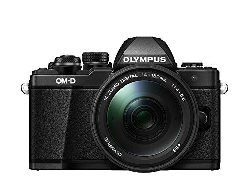 Olympus OM-D E-M10 Mark II Systeemcamera (16 megapixels, 5-assige VCM beeldstabilisator, elektronische zoeker met 2,36 miljoen OLED, Full HD, WiFi, metalen behuizing) Kit incl. 14-42 mm objectief (elektrische zoom), zwart, incl. M.Zuiko Digital ED 14-150mm lens (zwart), zwart