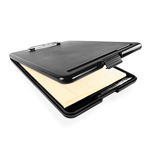 Slim Plastic Nursing RN Style Coaches Clipboard with Open Foldable Storage, Classroom Teacher College Size (9.5' x 13.5') (Black)